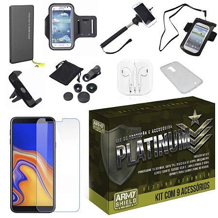 Kit Platinum Galaxy J4 Plus com 9 Acessórios - Armyshield