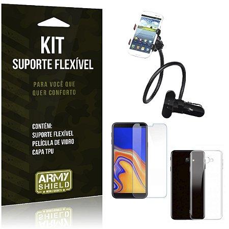 Kit Suporte Flexível Galaxy J4 Plus Suporte + Película + Capa - Armyshield