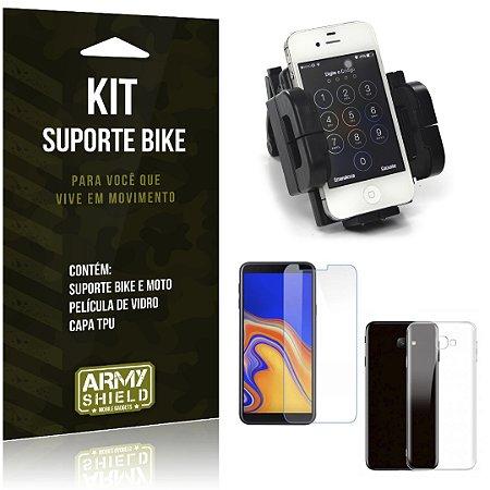 Kit Suporte Moto Bike Galaxy J4 Plus Suporte + Película + Capa - Armyshield