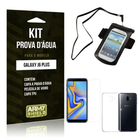Kit Capa à Prova D'água Galaxy J6 Plus Prova Dágua + Película + Capa - Armyshield