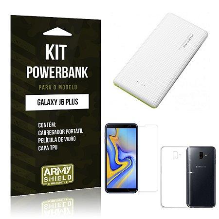Kit Powerbank Galaxy J6 Plus Powerbank + Película + Capa - Armyshield
