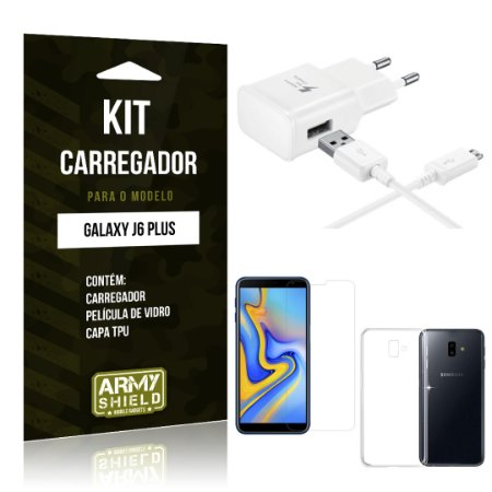 Kit Carregador Galaxy J6 Plus Carregador + Película + Capa - Armyshield