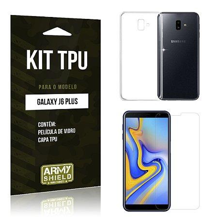 Kit Capa Silicone Galaxy J6 Plus Película + Capa - Armyshield