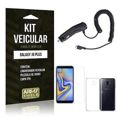 Kit Carregador Veicular Galaxy J6 Plus Carregador + Película + Capa - Armyshield