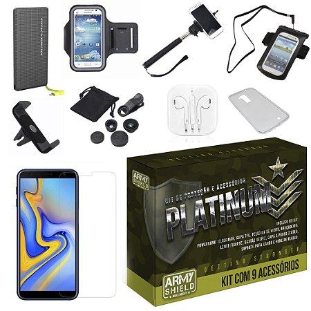 Kit Platinum Galaxy J6 Plus com 9 Acessórios - Armyshield