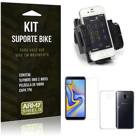 Kit Suporte Moto Bike Galaxy J6 Plus Suporte + Película + Capa - Armyshield