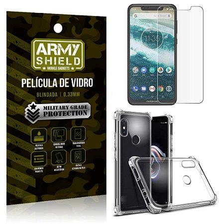 Kit Capa Anti Shock Motorola Moto One com Capa + Película de Vidro - Armyshield