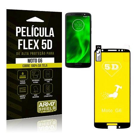 Película Flex 5D Cobre a Tela Toda Motorola Moto G6 Preta - Armyshield