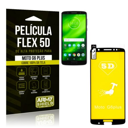 Película Flex 5D Cobre a Tela Toda Motorola Moto G6 Plus Preta - Armyshield