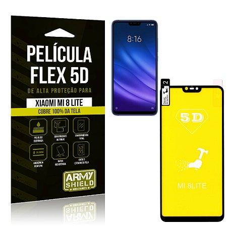 Película Flex 5D Cobre a Tela Toda Xiaomi Mi 8 Lite Preta - Armyshield
