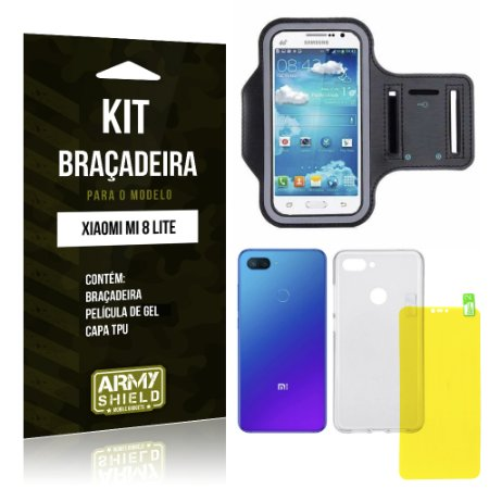 Kit Braçadeira Xiaomi Mi 8 Lite  Braçadeira + Película Gel + Capa - Armyshield