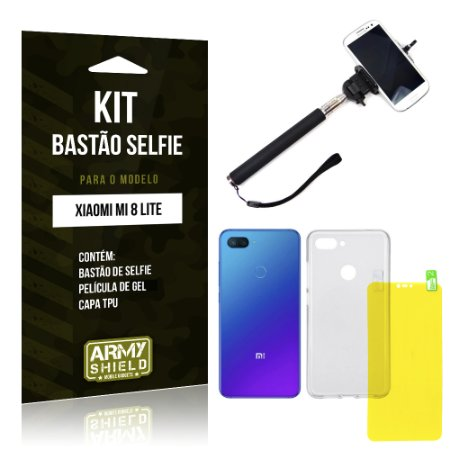 Kit Bastão Selfie Xiaomi Mi 8 Lite  Bastão + Película Gel + Capa - Armyshield