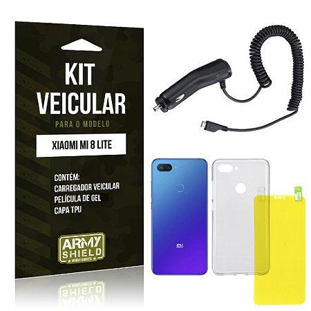 Kit Carregador Veicular Tipo C Xiaomi Mi 8 Lite  Carregador + Película Gel + Capa - Armyshield