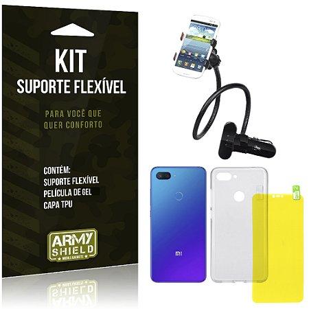 Kit Suporte Flexível Xiaomi Mi 8 Lite  Suporte + Película Gel + Capa - Armyshield
