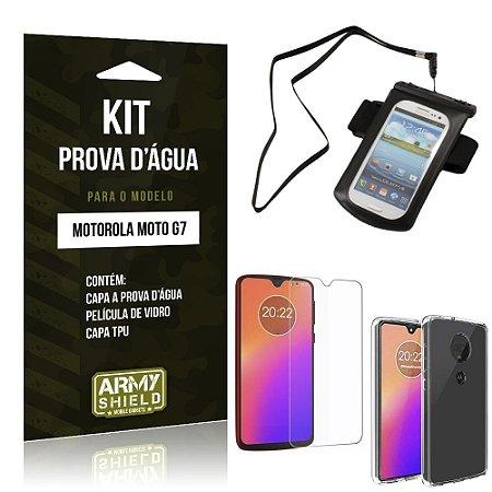 Kit Capa à Prova D'água Moto G7 Prova Dágua + Película de Vidro + Capa - Armyshield