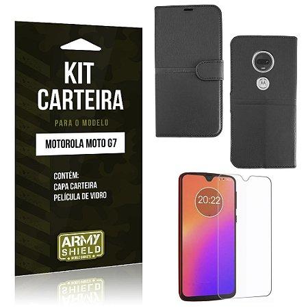 Kit Capa Carteira Moto G7 Capa Carteira + Película de Vidro - Armyshield