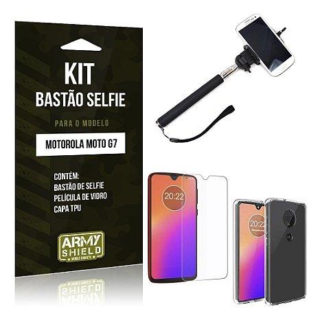 Kit Bastão Selfie Moto G7 Bastão + Película de Vidro + Capa - Armyshield