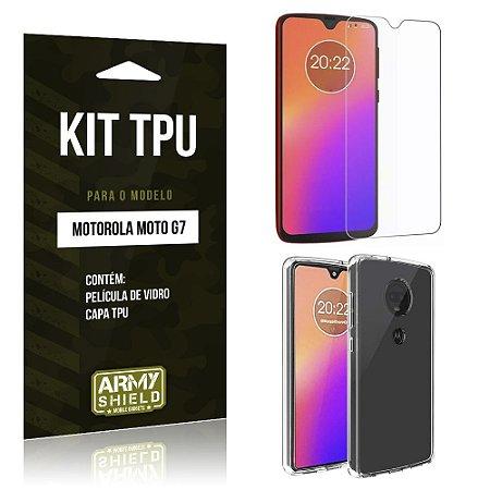 Kit Capa Silicone Moto G7 Película de Vidro + Capa - Armyshield