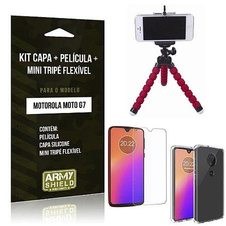 Kit Moto G7 Capa Silicone + Película de Vidro + Mini Tripé Flexível - Armyshield