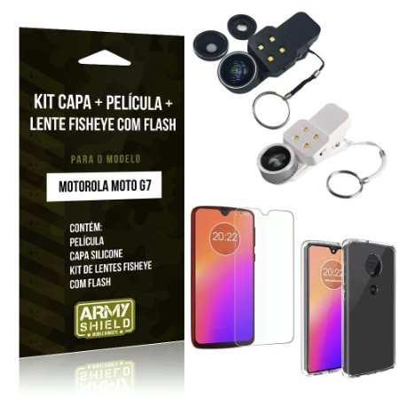 Kit Fisheye com Flash Moto G7 Lente Fisheye Flash + Película de Vidro + Capa - Armyshield