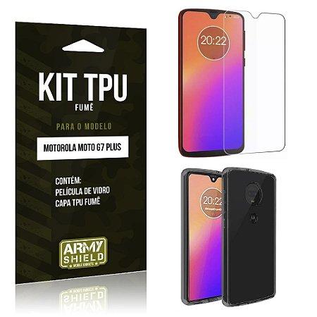 Kit Capa Fumê Moto G7 Plus Película de Vidro + Capa Fumê - Armyshield