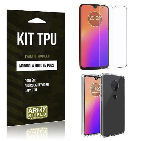 Kit Capa Silicone Moto G7 Plus Película de Vidro + Capa - Armyshield