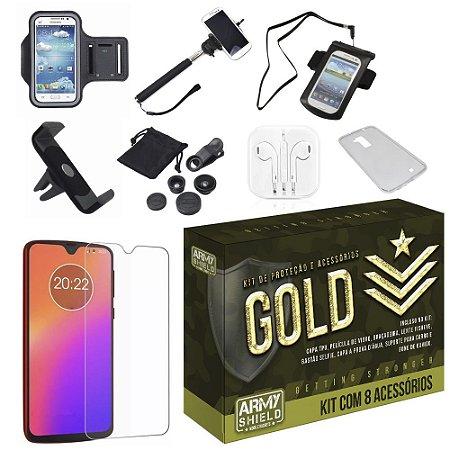 Kit Gold Moto G7 Plus com 8 Acessórios - Armyshield