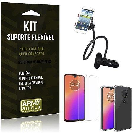 Kit Suporte Flexível Moto G7 Plus Suporte + Película de Vidro + Capa - Armyshield