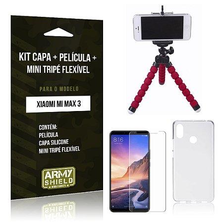 Kit Xiaomi Mi Max 3 Capa Silicone + Película de Vidro + Mini Tripé Flexível - Armyshield