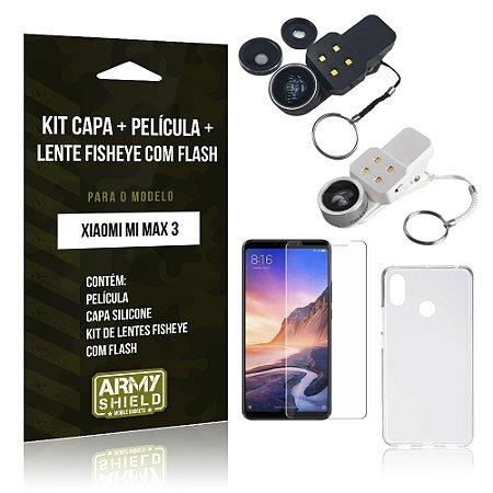 Kit Fisheye com Flash Moto G7 Lente Fisheye Flash + Película de Vidro + Capa - Armyshield