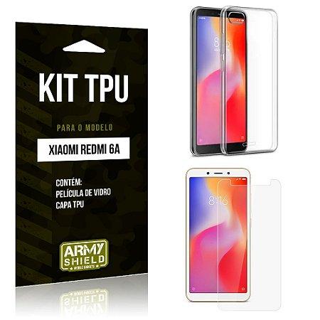 Kit Capa Silicone Xiaomi Redmi 6A Capa de Silicone + Película de Vidro - Armyshield