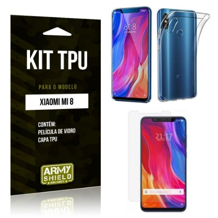 Kit Capa Silicone Xiaomi Mi 8 Capa de Silicone + Película de Vidro - Armyshield