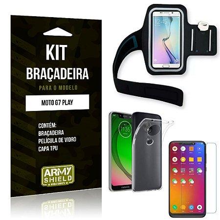 Kit Braçadeira Motorola Moto G7 Play Braçadeira + Capa + Película de Vidro - Armyshield