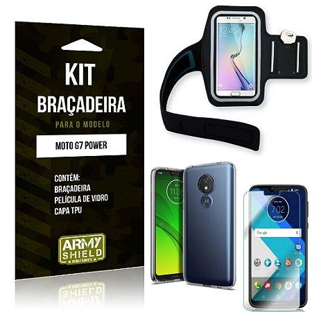 Kit Braçadeira Motorola Moto G7 Power Braçadeira + Capa + Película de Vidro - Armyshield
