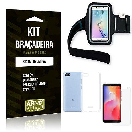 Kit Braçadeira Xiaomi Redmi 6A Braçadeira + Capa + Película de Vidro - Armyshield