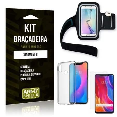 Kit Braçadeira Xiaomi Mi 8 Braçadeira + Capa + Película de Vidro - Armyshield
