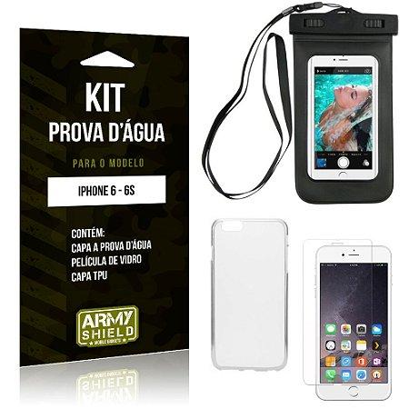 Kit Prova D'água Apple iPhone 6/6S Capa a Prova D'água + Capa + Película de Vidro - Armyshield