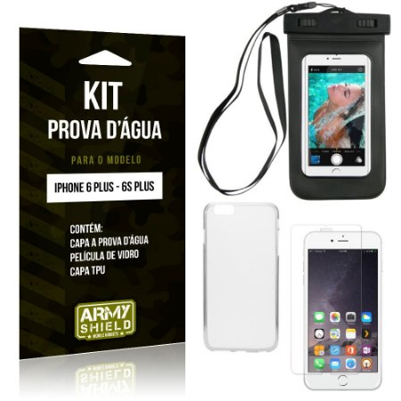 Kit Prova D'água iPhone 6 Plus/6S Plus Capa a Prova D'água + Capa + Película de Vidro - Armyshield