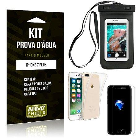 Kit Prova D'água Apple iPhone 7 Plus Capa a Prova D'água + Capa + Película de Vidro - Armyshield
