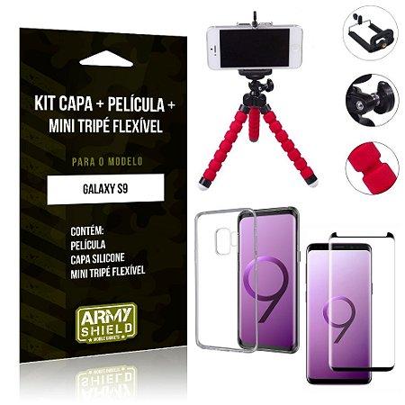 Kit Mini Tripé Flexível Samsung Galaxy S9 Tripé + Capa + Película de Vidro - Armyshield