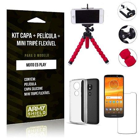 Kit Mini Tripé Flexível Motorola Moto E5 Play Tripé + Capa + Película de Vidro - Armyshield