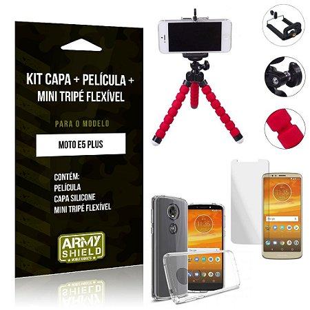 Kit Mini Tripé Flexível Motorola Moto E5 Plus Tripé + Capa + Película de Vidro - Armyshield
