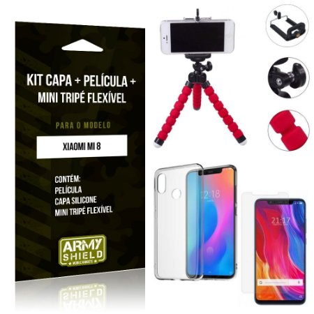 Kit Mini Tripé Flexível Xiaomi Mi 8 Tripé + Capa + Película de Vidro - Armyshield