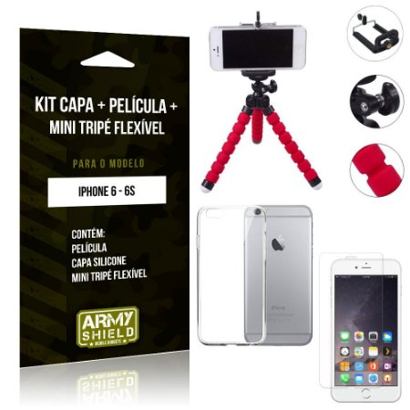 Kit Mini Tripé Flexível Apple iPhone 6/6S Tripé + Capa + Película de Vidro - Armyshield
