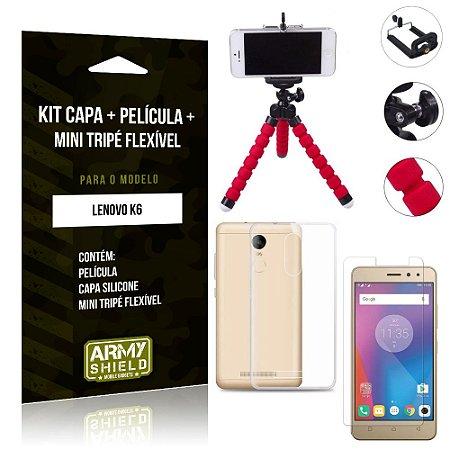 Kit Mini Tripé Flexível Lenovo  K6 Tripé + Capa + Película de Vidro - Armyshield
