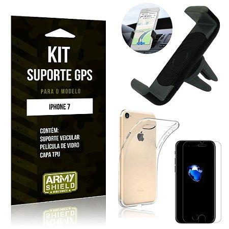 Kit Suporte Veicular Apple iPhone 7 Suporte + Capa + Película de Vidro - Armyshield