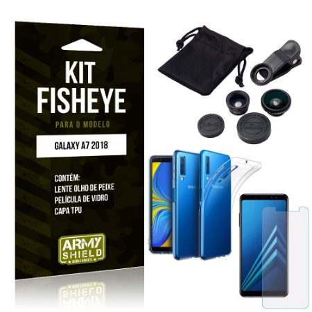 Kit Fisheye Samsung Galaxy A7 2018 Lente Fisheye + Capa + Película de Vidro - Armyshield