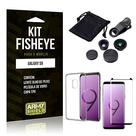 Kit Fisheye Samsung Galaxy S9 Lente Fisheye + Capa + Película de Vidro - Armyshield