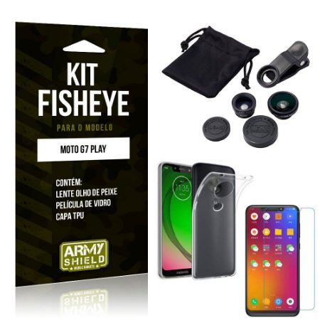Kit Fisheye Motorola Moto G7 Play Lente Fisheye + Capa + Película de Vidro - Armyshield
