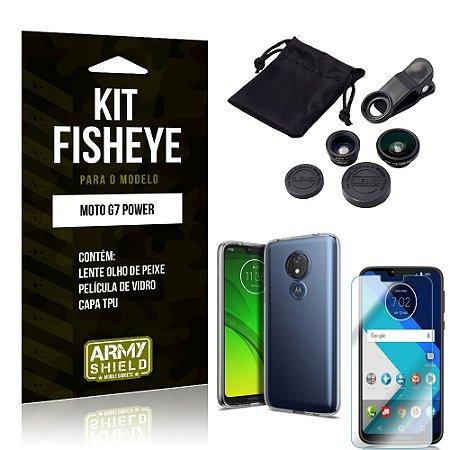 Kit Fisheye Motorola Moto G7 Power Lente Fisheye + Capa + Película de Vidro - Armyshield